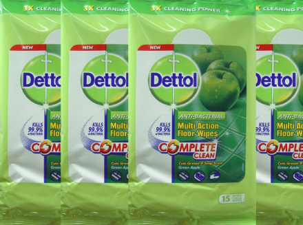 Dettol Anti-Bacterial Apple Floor Wipes 4 Packs x 15 Extra Large Wipes